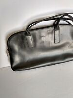 "Vintage FURLA - ITALY - Black leather shoulder bag - twin pouch - 10 1/2"" Strap"
