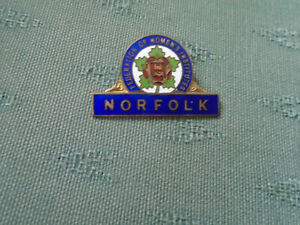 VINTAGE NORFOLK COUNTY FEDERATION OF WI WOMENS INSTITUTE - ENAMEL PIN BADGE