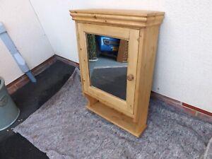 Pine 1 door mirror bathroom cabinet made by our own carpenter. 50 cm width.