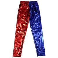 Girls Kids Disco Metallic Shiny Dance Leggings Pants Harley Quinn Costumes Foil