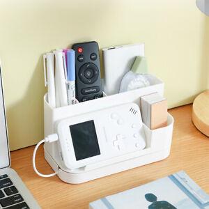 Desk Organizer Pen Holder with Rotating Drawer Home Office Desktop Storage Box