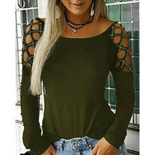 Women Fashion Crew Neck Hollow-Out Studded Long Sleeve T Shirts Casual Tops CA