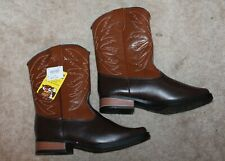 SMARTFIT Boys' Youth Sz 3 COWBOY WESTERN BOOTS (brown faux leather) New w/ Tags