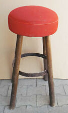 Beautiful Vintage BAR Stool Solid Wood With Iron And Red Fabric Cover Nr.1