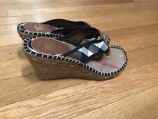 Genuine Burberry Women's Size 36 (6) Plaid Flip Flop Sandal Wedges Slightly Worn