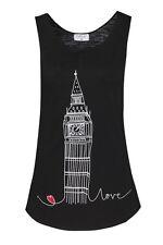 BIG BEN <3 LONDON SOUVENIR LADIES ONE SIZE (PETITE) TRENDY BLACK VEST, TANK TOP