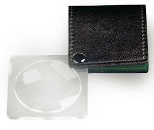 Donegan V906 Swing-Out 3.25X Pocket Magnifier Stored in a Cowhide Leather Case