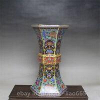 "9.4"" Chinese Ceramics Porcelain Colour Enamels Flower Hexagon Pretty Bottle Vase"