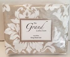 New The Grand Collection King Sheet Set Home Style Microfiber Damask Taupe~White