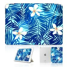 ( For iPad 2 3 4 ) Front Back Case Cover PB40014 Blue Tropical Palm