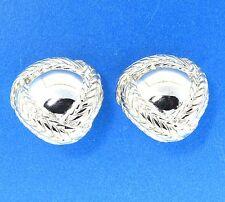 Trifari Silver Tone Triangle Dome Braided Stud Earrings