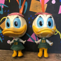Vintage Disney Daisy Duck Pair Of 1971 Burbank Toys Talking Figures Working Worn