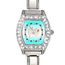 Samoyed Dog CZ Womens Stainless Steel Italian Charms Bracelet Wrist Watch BJ1156