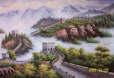 Beautiful Oil painting landscape Chinese Great Wall on canvas free postage