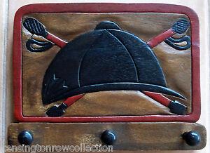 WALL HOOKS - RIDING HELMET TRIPLE WALL HOOK - BRIDLE RACK - HORSE