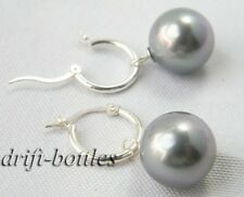 14.5mm Gray Round Shell Pearl Silver Dangle Earring