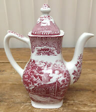 English Country Inns Grindley Red Pink The Talbot Coffee Pot Chip England White