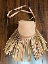 BoHo Hippie CHIC Faux Leather Dusty Pink Fringe Cross Body Bag Purse