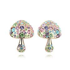 18K Gold Plated Made With Swarovski Crystal Multicolored Mushroom Stud Earrings