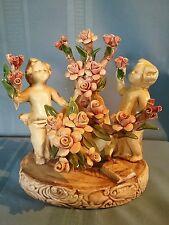 Vintage Albertini Collection Capodimonte Cherubs with Rose Cart Figurine