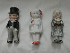 Antique Bisque Porcelain Figurines Bride, Groom & Minister Cake Toppers Japan