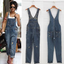 UK Womens Baggy Denim Jeans Full Length Pinafore Dungaree Overall Jumpsuit C1MY