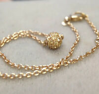 French Sparkly!18K Gold Yellow Sapphire Globe Sphere Pave Ball Pendant Bracelet
