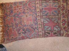 Old Oriental Carpet Cushion Wool  fringe on both ends