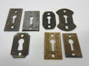7 Antique Eastlake Brass & Steel Escutcheons