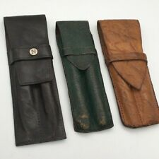 Nice Vintage Mixed Lot Leather Pen Pouches x 3-1 x Dark Brown-1 x Brown-1 xGreen