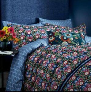 V & A Primula Dark Blue Floral 100% Cotton Double Duvet Cover & 2 Pillowcases