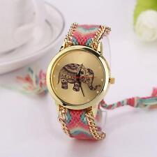 Women Ladies Elephant Pattern Weaved Rope Band Quartz Dial Bracelet Wrist Watch