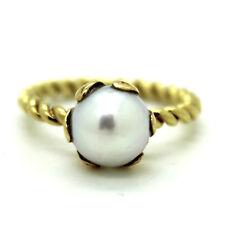 585er 14kt. Gelbgold Ring mit Süßwasser Zuchtperle