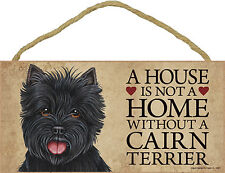 Cairn Terrier Indoor Dog Breed Sign Plaque – A House Is Not A Home Black + Bo.