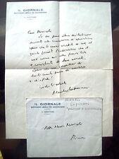 1945 DRAMMATICA LETTERA GIORNALISTA MANLIO LUPINACCI SU COMMISSIONE D'EPURAZIONE
