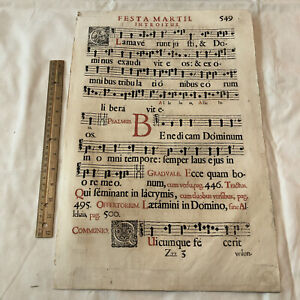 Huge 1671 Music Sheet Folio Leaf - France, Printed In Latin - Decor Display - A