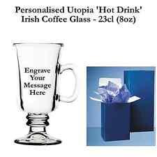 Personalised Latte Stemmed Coffee Mug Glass-23cl (8oz) CUP MUG MUGS CUPS