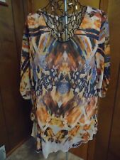 Womens XL Live & Let Live SS Multi Color Top Assymetric Hemline Gathered Side