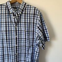 Mens Lacoste Casual Check Shirt Size Extra Large Tall Short Sleeve Cotton Shirt
