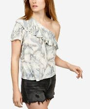 LUCKY BRAND $60 One-Shoulder Short-Sleeve Top XL 14/16 Natural Multi NWT