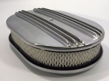 """12"""" Oval Half Finned Polished Aluminum Classic Air Cleaner Chevy Ford Mopar"""