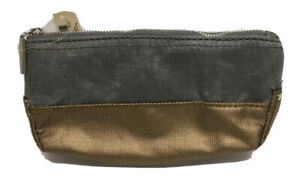 New Bath & Body Works Cosmetic Makeup Travel Bag Gold Foil Gray Distressed Case