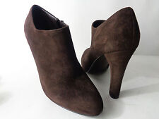 LAUREN BY RALPH LAUREN US 9.5M Brown Suede Leather High Heel Ankle Boot Bootie