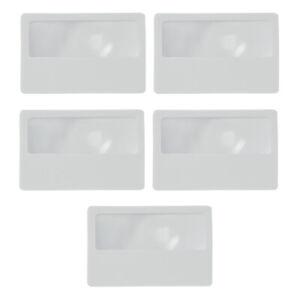 Credit Card Size Magnifier Magnifying Fresnel Lens Pocket Wallet Reading 5 Piece