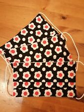 Vintage Daisy Flower Design Face Mask Covering 100% Cotton Black Red White