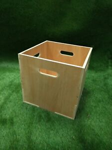 """Record Storage Cube Box Crate Stackable plywood 12"""" Vinyl LP Rack"""