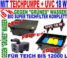 BIO UV TEICHFILTER KOMPLETTSET+TEICHPUMPE 3000+UVC 18 W FÜR TEICH 12000 L NEU