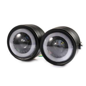 Motorcycle Twin dominator LED Angel Eyes Headlight Double Front HeadLamp Touring