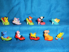 CATS in HIGH HEEL SHOES Set 10 Mini Figurines FRENCH Porcelain FEVES Kittens