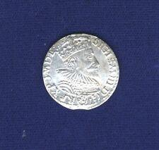POLAND/LITHUANIA SIGISMUND 1593 3 GROSCHEN/GROSSUS)(TROJAK) SILVER COIN, AU